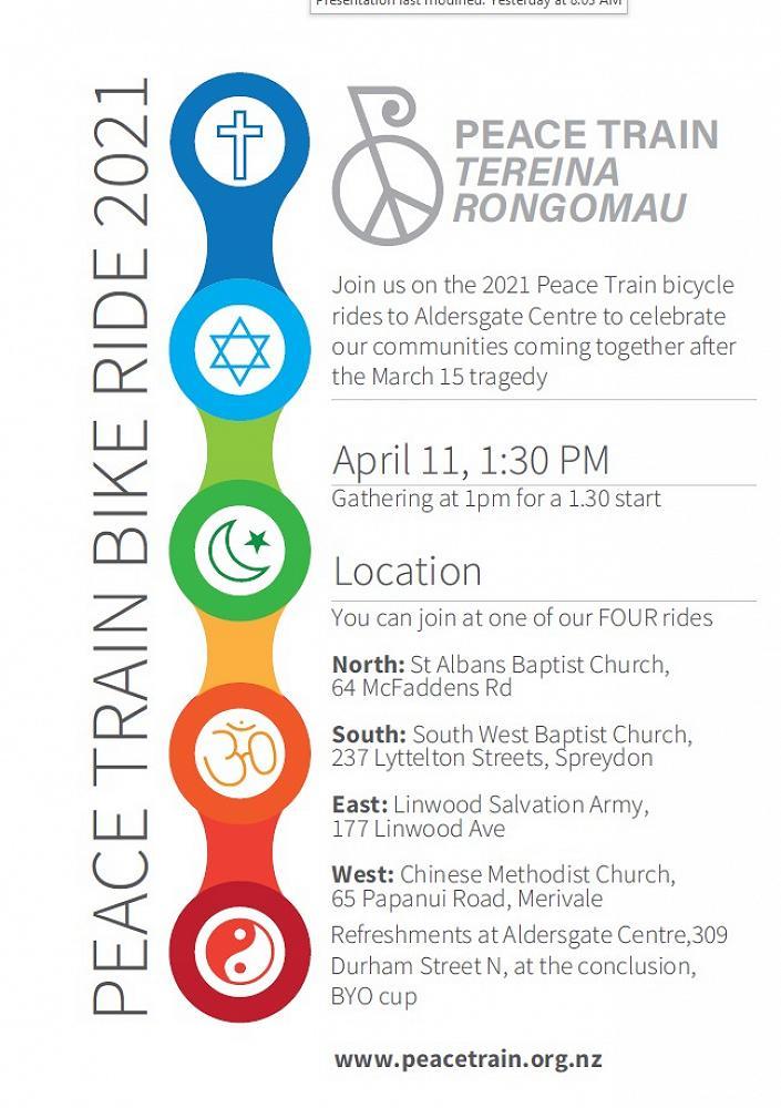 Peace Train Bike Ride 1.30pm Sunday 11 April 2021